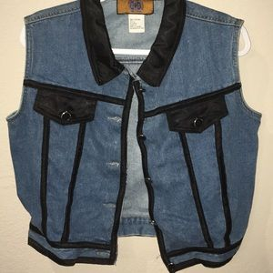 Blue Jean Denim Vest with Black Trim Baccini